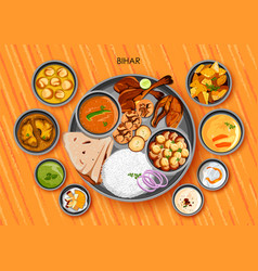 Traditional bihari cuisine and food meal thali of vector