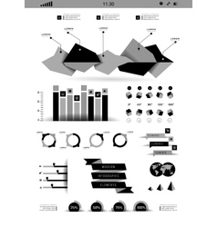Transparent flat web site business Infographics vector image