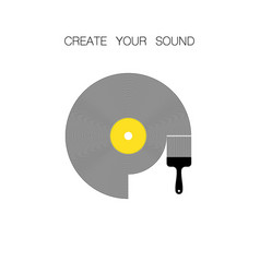vinyl record with brush vector image