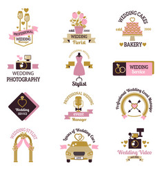 Wedding photo or event agency logo badge camera vector