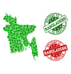 welcome collage of map of bangladesh and grunge vector image
