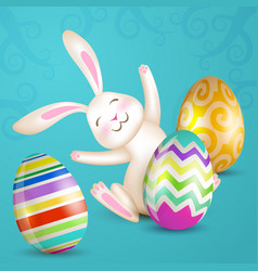 White sitting bunny and eggs vector