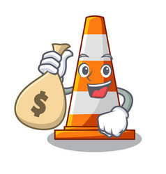 With money bag traffic cone on road cartoon shape vector