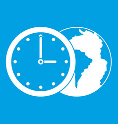 World planet with watch icon white vector
