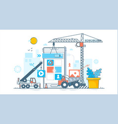 app development process construction of web vector image vector image