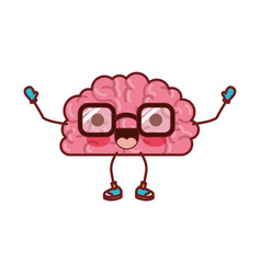 brain cartoon with glasses and cheerful expression vector image vector image