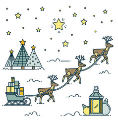 christmas robotic deer linear art robot deer vector image vector image