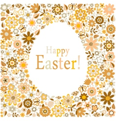 golden egg floral pattern card vector image vector image