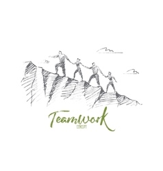 Hand drawn people climbing up hill holding hands vector image