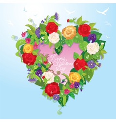 Heart shape is made of beautiful flowers - roses vector image vector image