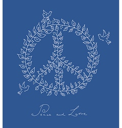 Sketch style peace dove symbol blue background vector image vector image