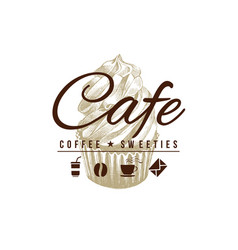 cafe sign with hand drawn cupcake vector image vector image