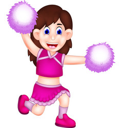 Cute cheerleading cartoon action with laugh vector