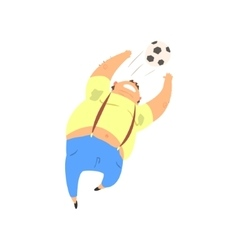 Fat guy playing football vector
