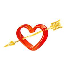 golden arrow of love in heart vector image vector image