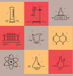 set of icons with chemical laboratory equipment vector image vector image
