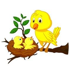 Cartoon mother and baby bird vector