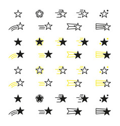 collection of star icons black linear icons isolat vector image vector image
