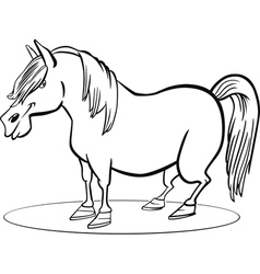 coloring page of funny farm pony horse vector image