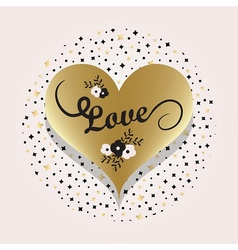 Golden heart symbol and love typography icon vector image vector image
