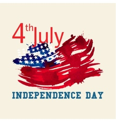 Greeting card with US flag Independence day of vector image