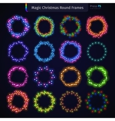 Magic Christmas Round Frames Set vector image