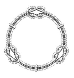 twisted rope circle - round frame with knots vector image vector image