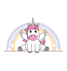 cute unicorn with wings sitting isolated vector image vector image