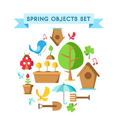 design spring objects set poster vector image