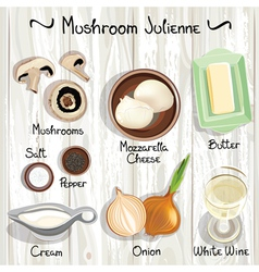 Mushroom julienne vector