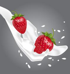 realistic strawberries in milk vector image vector image