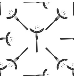 sausage on fork icon seamless pattern on white vector image
