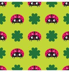 Seamless ladybugs pattern vector image vector image
