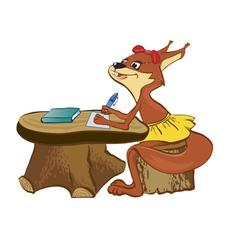 squirrel sits at a school desk vector image