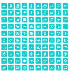 100 harmony icons set grunge blue vector image
