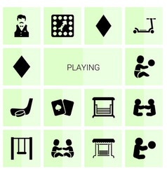 14 playing icons vector