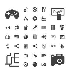 37 media icons vector