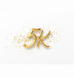 5k followers celebration design with golden vector image