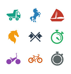 9 race icons vector