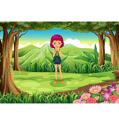 A tall female teenager in the middle of the forest vector