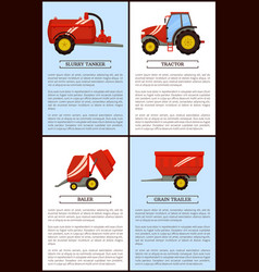 Agriculture machinery tractor grain trailer baler vector