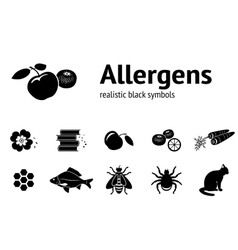 Allergen set Realistic icons from tipical food vector
