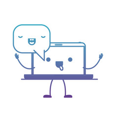 animated kawaii laptop computer with kawaii speech vector image