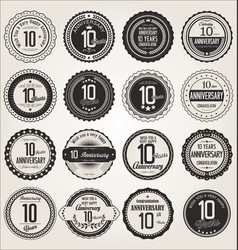Anniversary retro labels collection 10 years vector