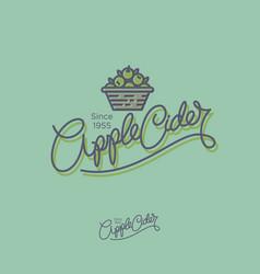 apple cider logo hand lettering vector image