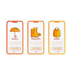 autumn clothing thin line icons set umbrella vector image