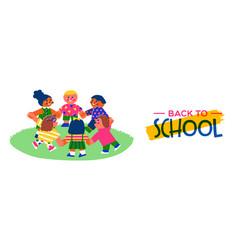 back to school banner happy children friend group vector image