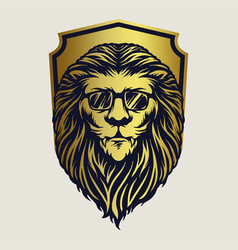 badge animal lion logo mascot vector image