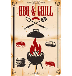 Bbq grill poster template with grill on grunge vector