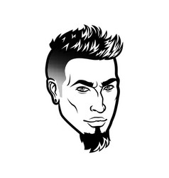 Bearded men face hipster head with haircuts vector